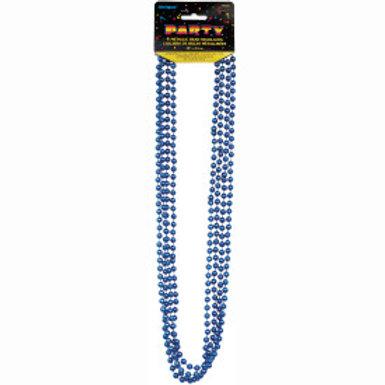 Bead Necklace-Blue Metallic