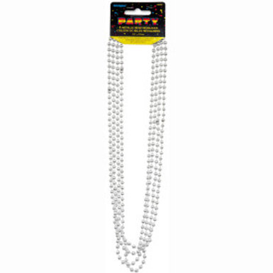Bead Necklace-Silver Metallic