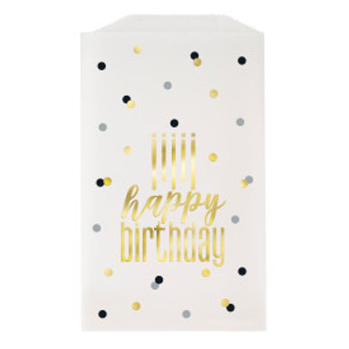 Metallic Happy Birthday Glassine Treat Bags