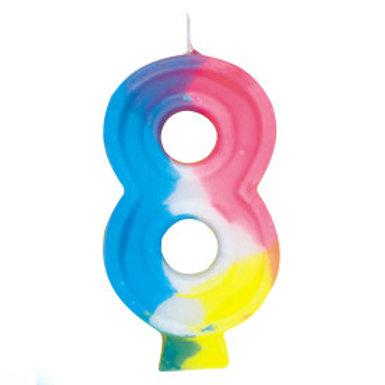Rainbow Birthday Candle #8