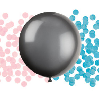"""24"""" Black Giant Gender Reveal Latex Balloon with Confetti"""