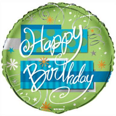 """18"""" Bright Birthday Round Foil Balloon"""