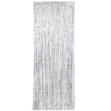 Silver Fringe Door Curtain 3X8