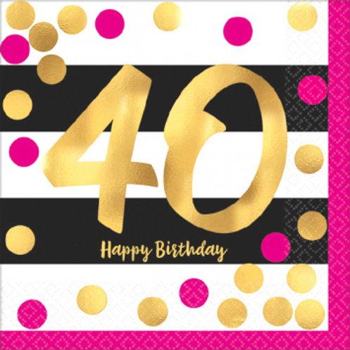 Hot Stamped Pink & Gold 40 Bev Napkins