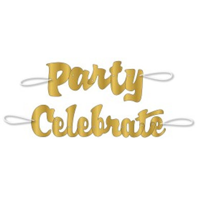 Gold Scrpt Party Celebrate Banner 2pc