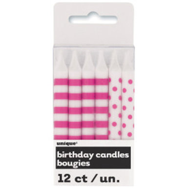Hot Pink Stripe & Dot Birthday Candles