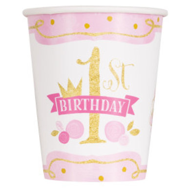 Pink/Gold 1st Birthday 9oz Cup