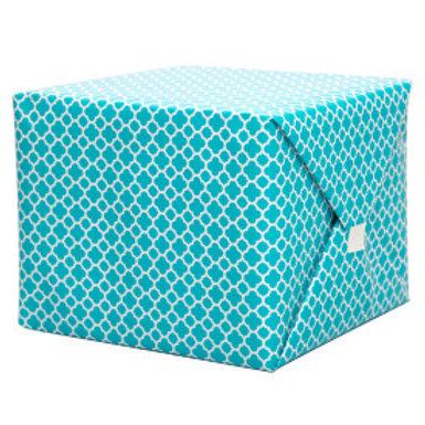 Caribbean Teal Quatrefoil Gift Wrap