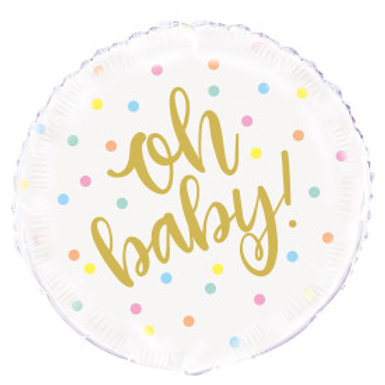 Oh Baby Gold Baby Shower Round Foil Balloon