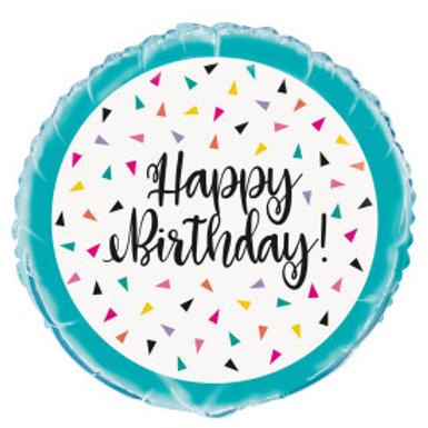 """18"""" Triangle Confetti Birthday Round Foil Balloon"""