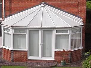 white brick and upvc conservatory at rea