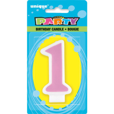 Candle 1st Birthday Number Pink