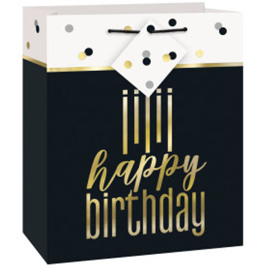 Metallic Happy Birthday Medium Gift Bag