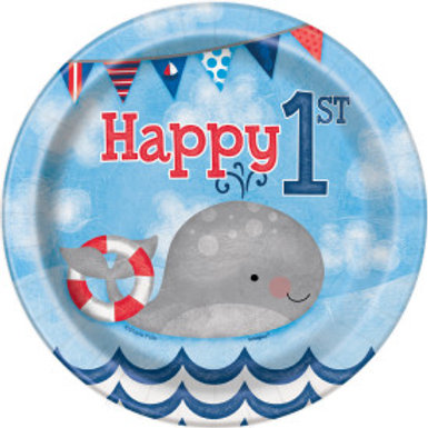 Nautical 1st Birthday Dessert Plate