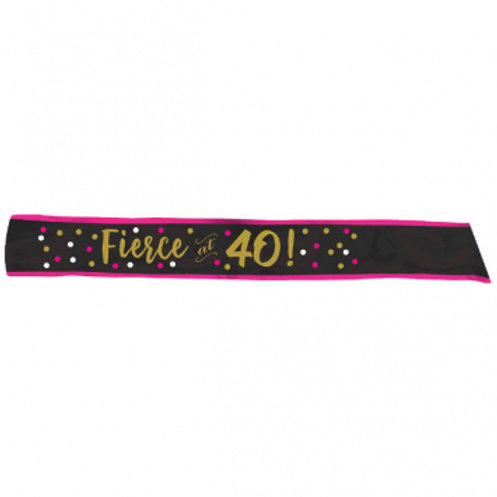 Pink and Gold Milestone 40 Fabric Sash