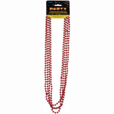 Bead Necklace-Red Metallic