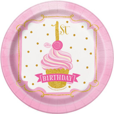 "Pink/Gold 1st Birthday 7"" Plt"