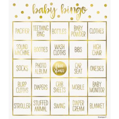 Gold Baby Shower Bingo Kit For 8