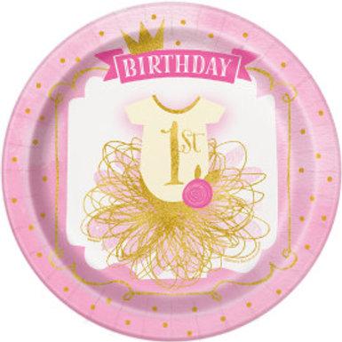 "Pink/Gold 1st Birthday 9"" Plt"
