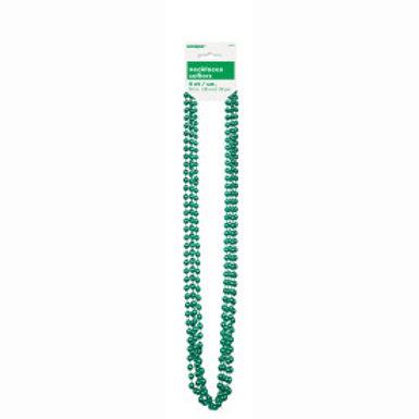 Bead Necklace-Green Metallic