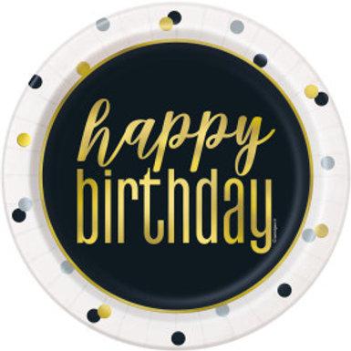 Metallic Happy Birthday Dessert Plate