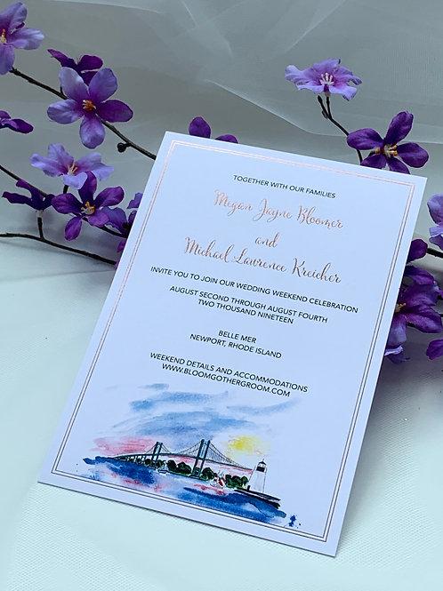 Custom wedding invitations digital and foil stamping set of 4 pc