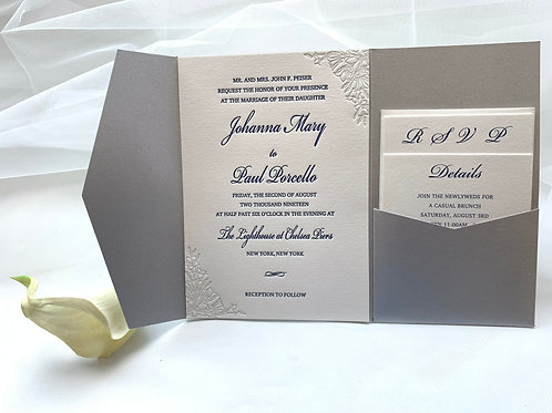 Custom letterpress pocket invitations set of 6 pcs