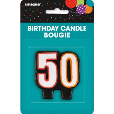Birthday Cheer Number 50 Birthday Candlee
