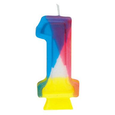Rainbow Birthday Candle #1