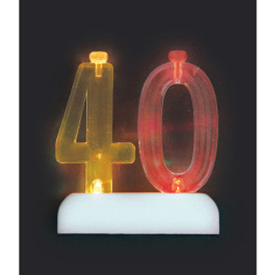 Number 40 Flashing Candle Holder w/Candle