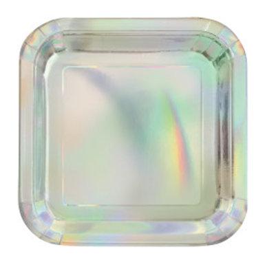"""Iridescent Square 7"""" Plates"""