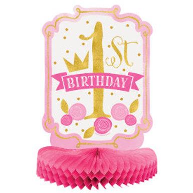 Pink/Gold 1st Birthday Paper Honeycomb Centerpiece
