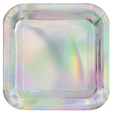 """Iridescent Square 9"""" Plates"""