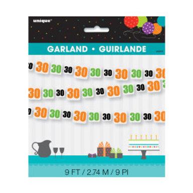 Birthday Cheer Number 30 Paper Garland