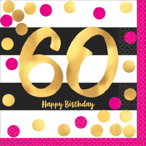 Hot Stamped Pink & Gold 60 Bev Napkins