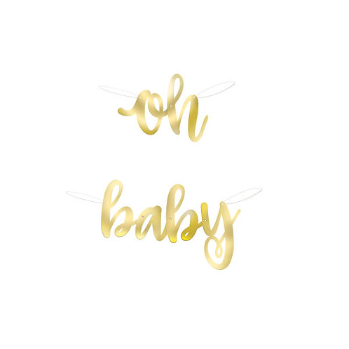 Oh Baby Gold Foil Script Banner