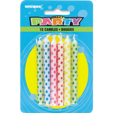 Diamnd Dot Birthday Candle 10Ct