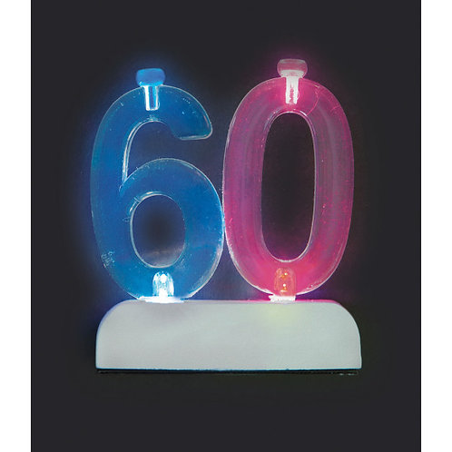 Number 60 Flashing Candle Holder w/Candle