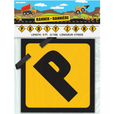 Construction Party Zone Block Banner