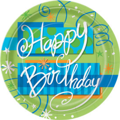 "Bright Birthday Round 9"" Plates"