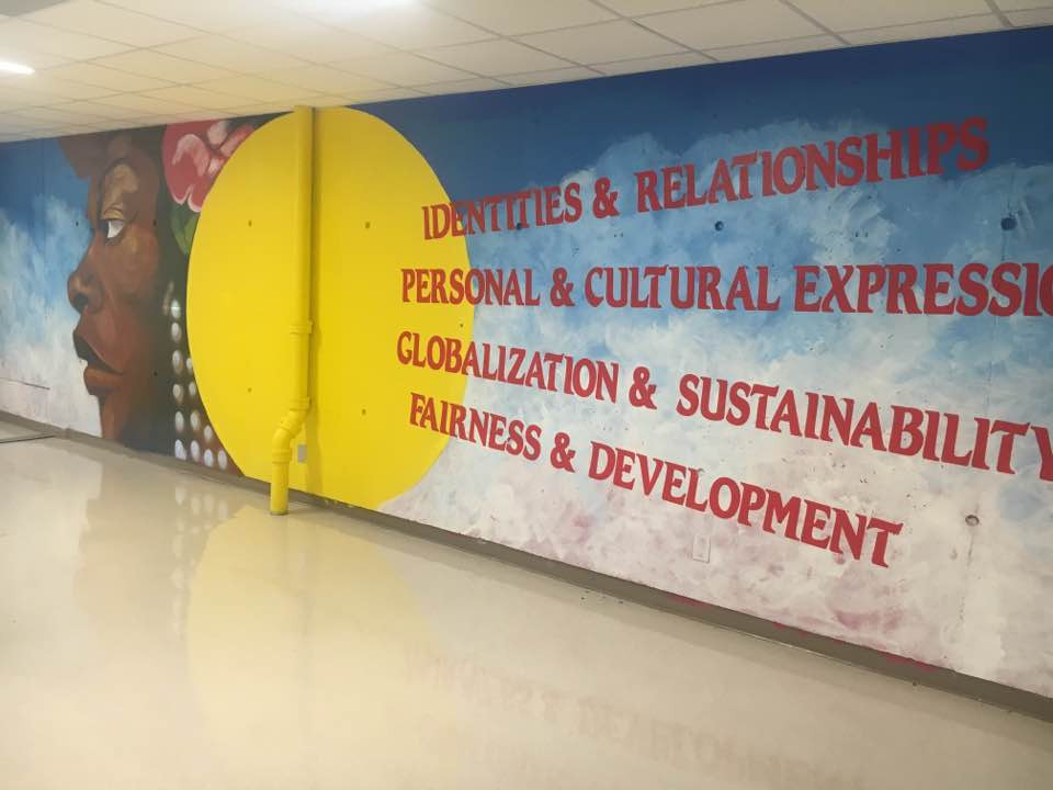"""Murals in Schools - """"Celebrating our Values"""" commissioned by Hands On Atlanta  for Martin Luther King, Jr. Middle School"""