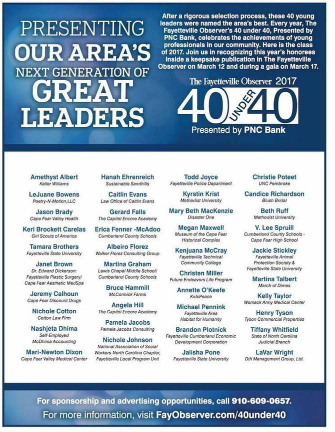 Founder awarded Fayetteville's 40 Under 40