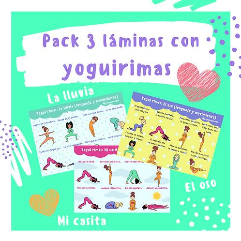 """Tres láminas con yoguirimas: """"La lluvia"""", """"El oso"""", """"Mi casita"""""""