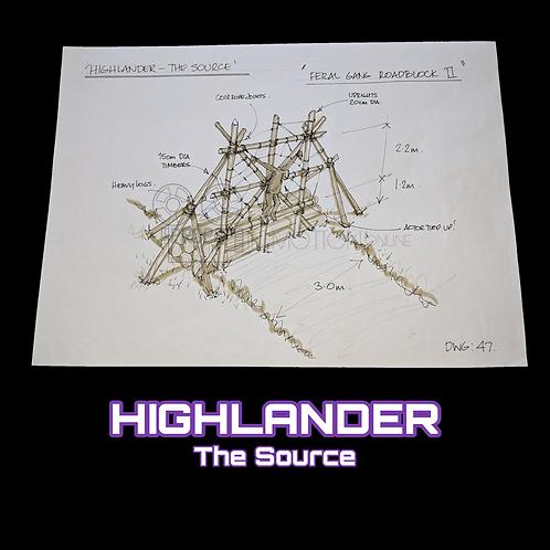 Highlander The Source (2007) Hand Drawn Production Drawing 'Feral Gang Roadblock
