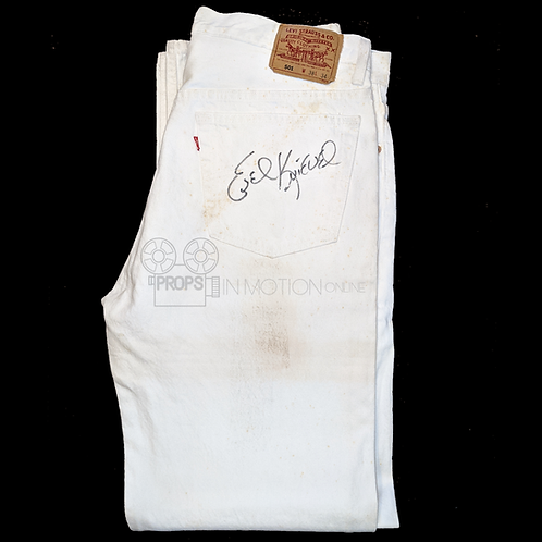 Unknown Production (????) White Levi's Signed by Evel Knievel (0702)