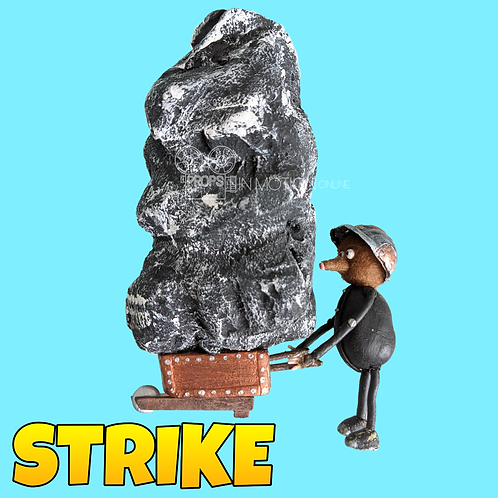 Strike (2018) Miner with large Rock in Cart Stop Motion Puppet (S80)