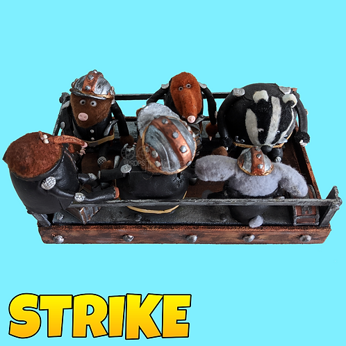 Strike (2018) Mine Cart With Miners Stop Motion Puppets (S46)