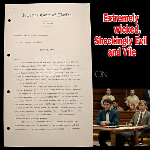 Extremely Wicked, Shockingly Evil and Vile (2019) Ted Bundy Court Document