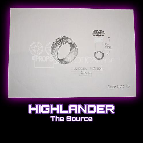 Highlander: The Source (2007) 'Zagora Monk's Ring' Production Drawing