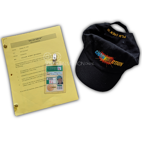 Chain Reaction (1996) Donald Rimgale Prop ID, Script and Crew Hat